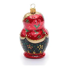 Boneca russa enfeite vidro soprado árvore Natal s3