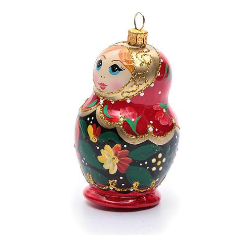 Boneca russa enfeite vidro soprado árvore Natal 2