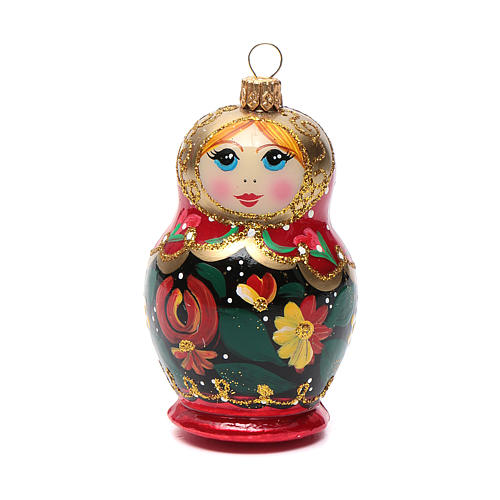 Boneca russa enfeite vidro soprado árvore Natal 5