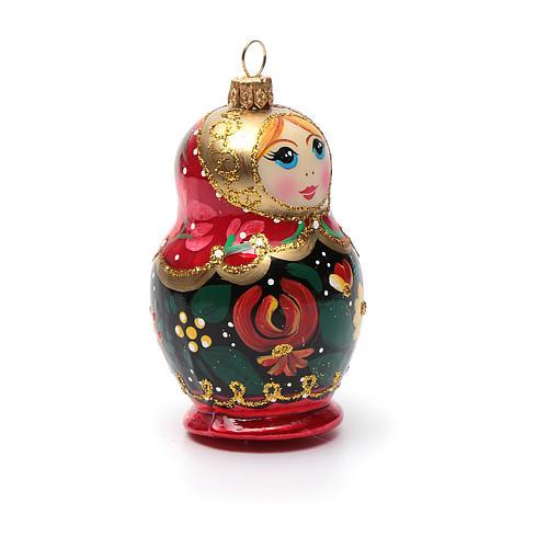 Boneca russa enfeite vidro soprado árvore Natal 8