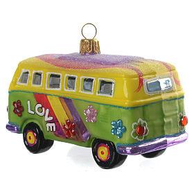 Blown glass Christmas ornament, hippie minivan s3