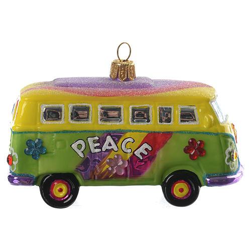 Blown glass Christmas ornament, hippie minivan 1