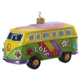 Furgoneta Hippie adorno vidrio soplado para Árbol de Navidad s2