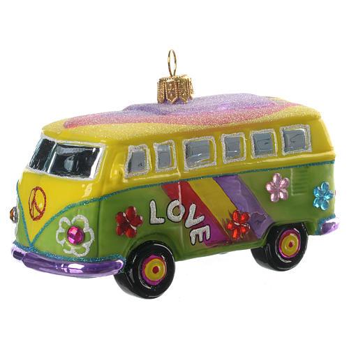 Furgoneta Hippie adorno vidrio soplado para Árbol de Navidad 2