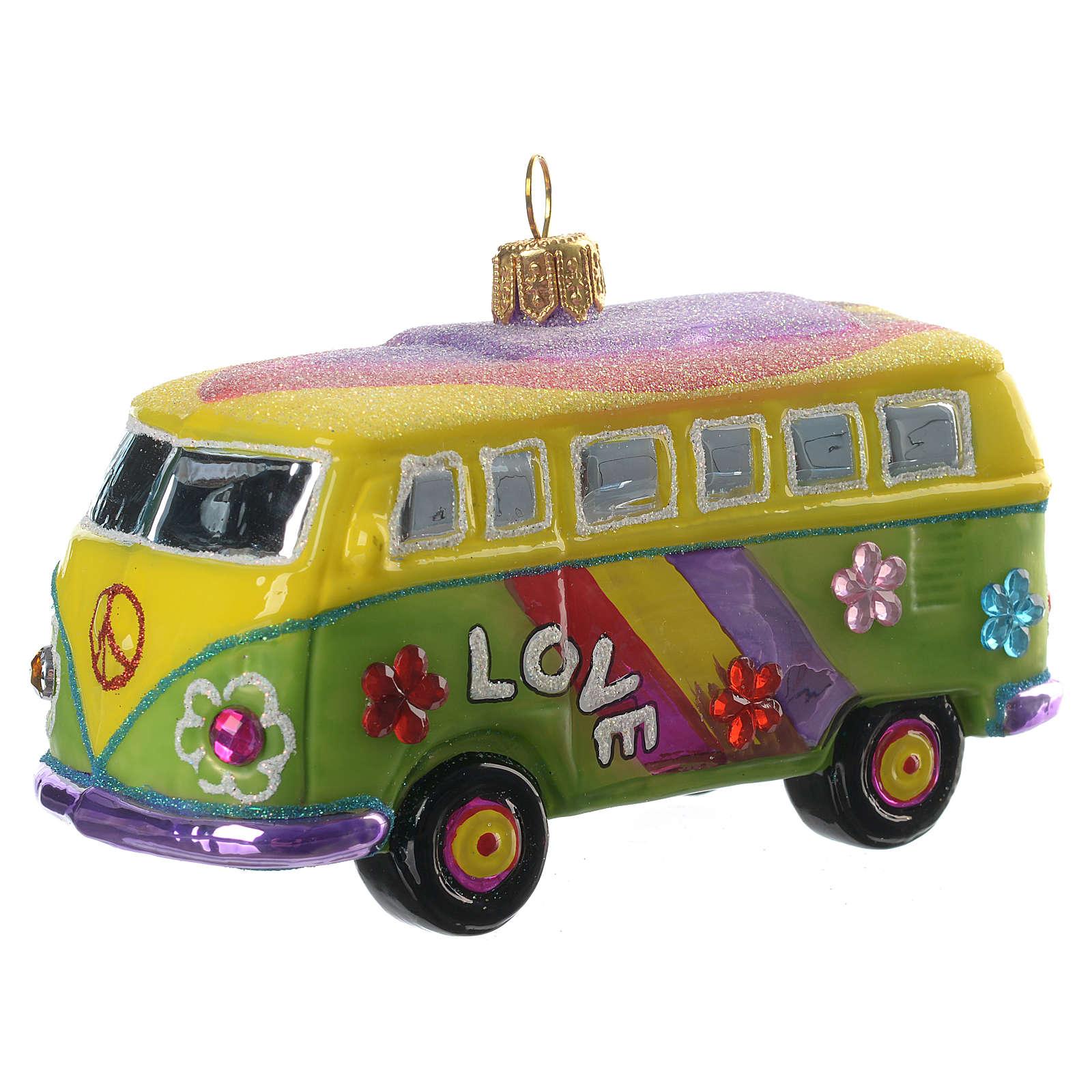 Pulmino Hippie decorazione vetro soffiato Albero Natale 4