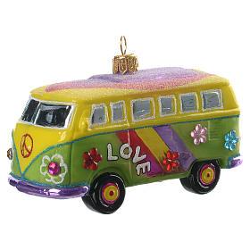 Pulmino Hippie decorazione vetro soffiato Albero Natale s2