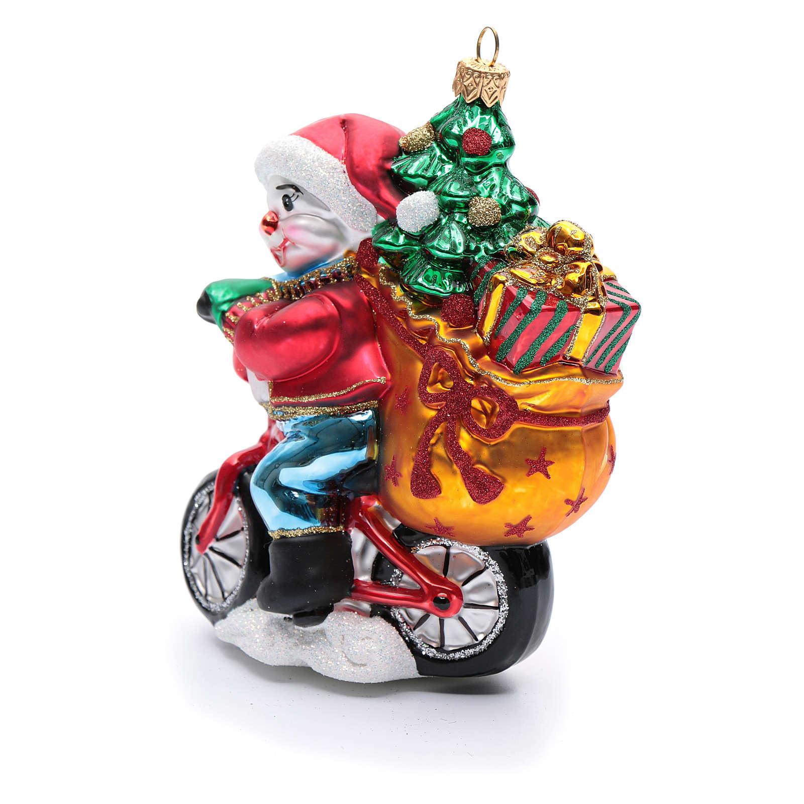 Muñeco de nieve con regalos adorno vidrio soplado para Árbol de Navidad 4