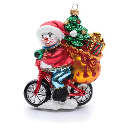 Muñeco de nieve con regalos adorno vidrio soplado para Árbol de Navidad 1