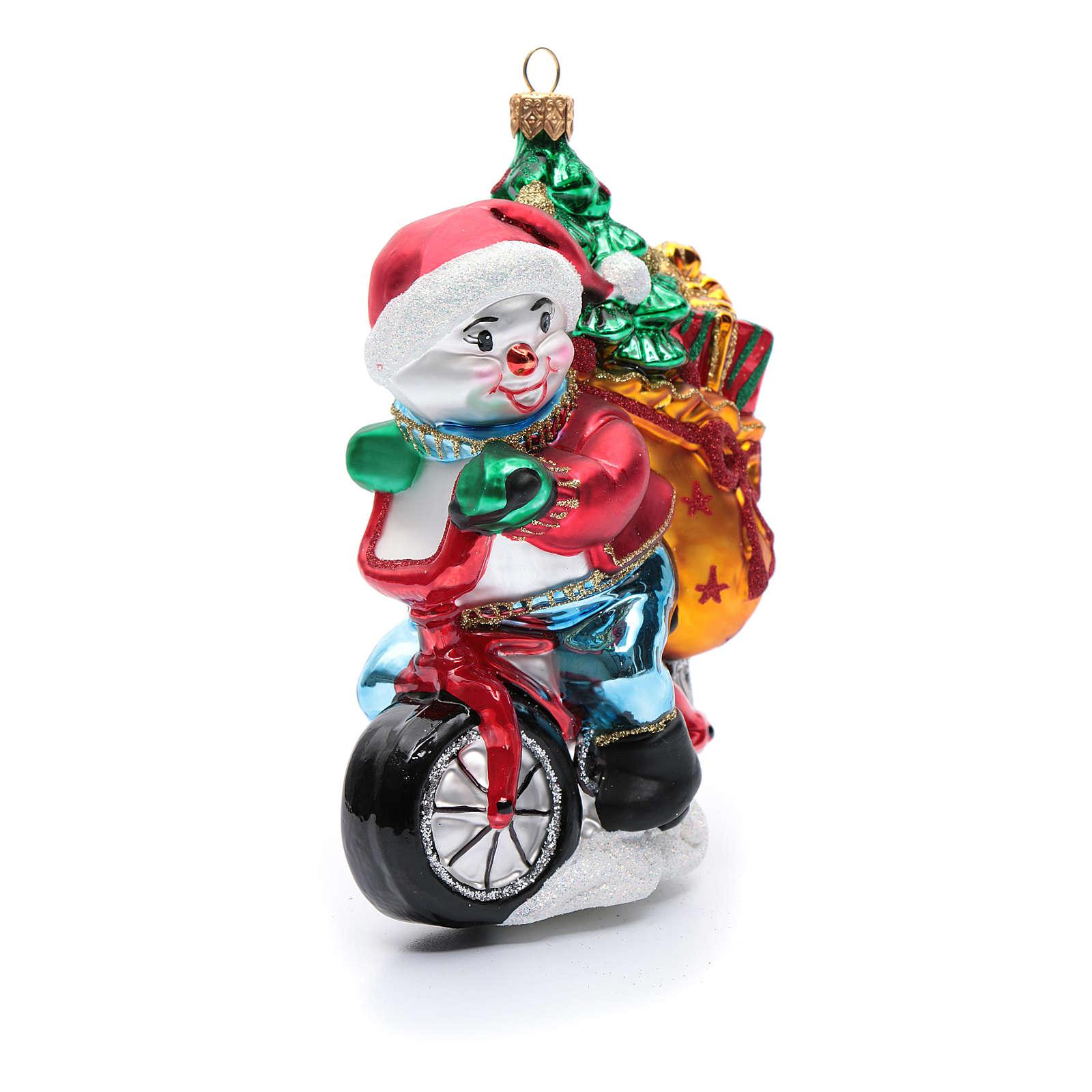 Pupazzo di neve con doni addobbo vetro soffiato Albero Natale 4