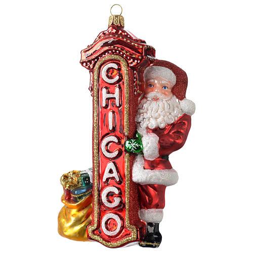 Babbo Natale a Chicago addobbo vetro soffiato Albero Natale 1