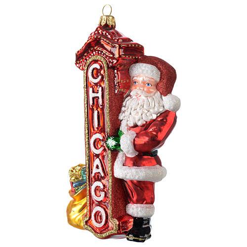 Babbo Natale a Chicago addobbo vetro soffiato Albero Natale 3