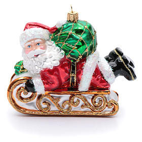 Blown glass Christmas ornament, Santa Claus with sled s1