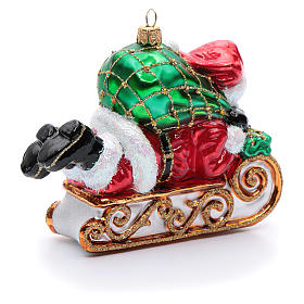 Blown glass Christmas ornament, Santa Claus with sled s3