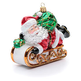 Blown glass Christmas ornament, Santa Claus with sled s4