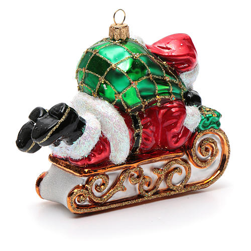 Blown glass Christmas ornament, Santa Claus with sled 7