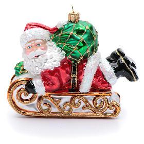 Décoration sapin verre soufflé Père Noël en traîneau s1