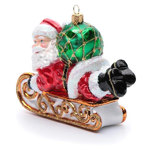 Décoration sapin verre soufflé Père Noël en traîneau 2