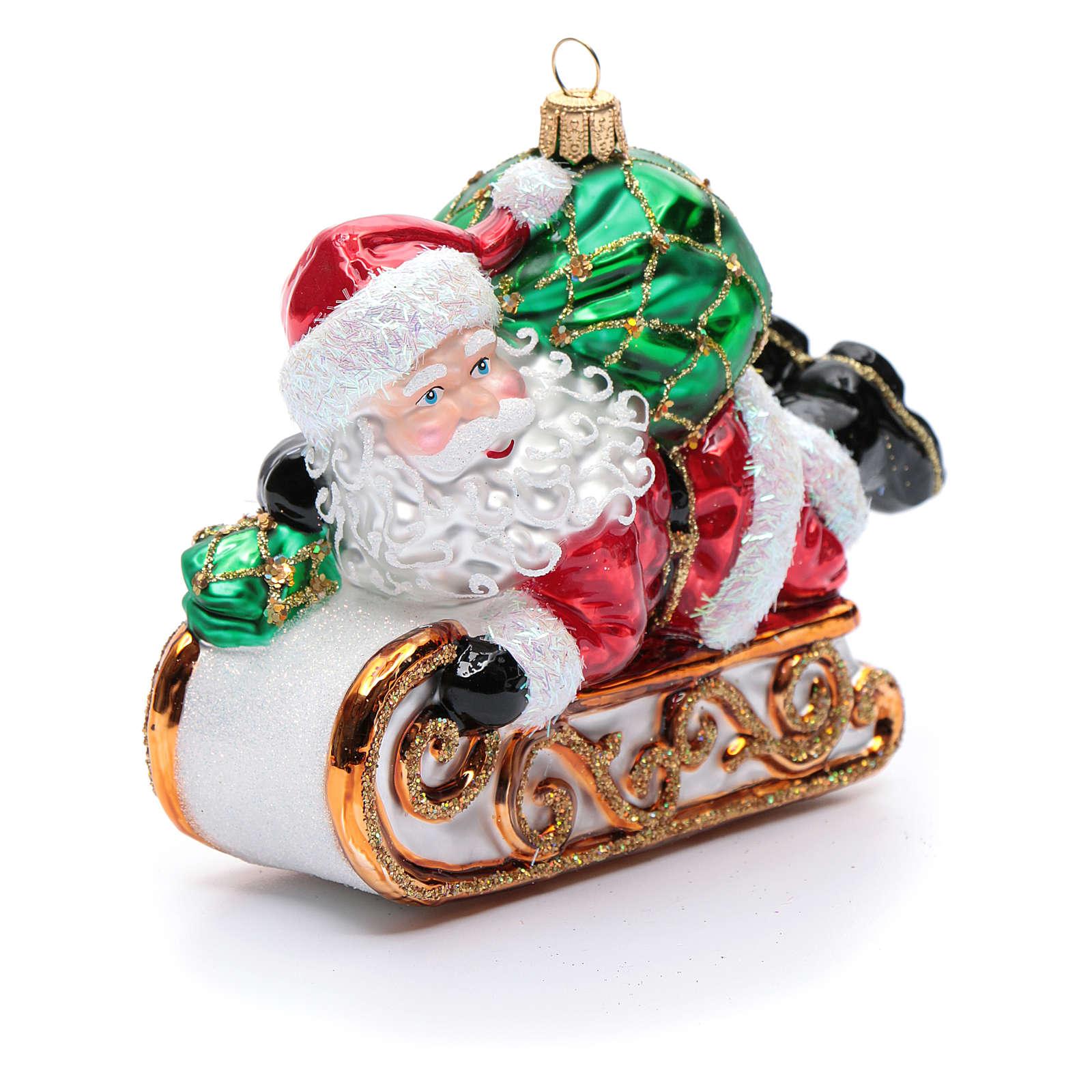 Babbo Natale con slitta addobbo vetro soffiato Albero Natale 4