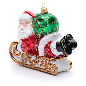 Blown glass Christmas ornament, Santa Claus with sled s2