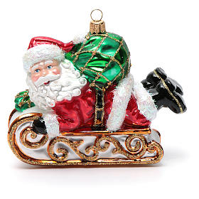 Blown glass Christmas ornament, Santa Claus with sled s5