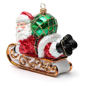 Blown glass Christmas ornament, Santa Claus with sled s6