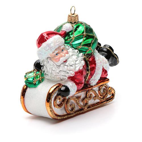 Blown glass Christmas ornament, Santa Claus with sled 8