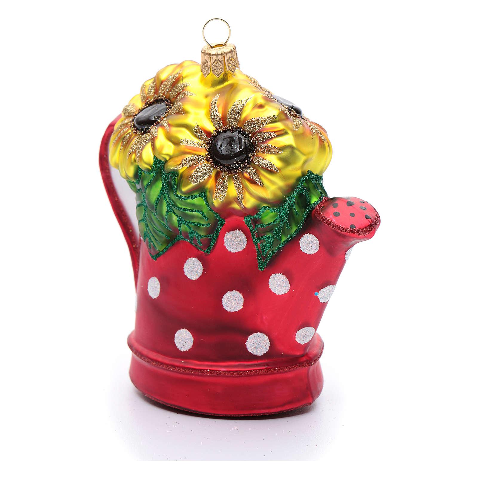 Annaffiatoio con girasoli decoro vetro soffiato Albero Natale 4