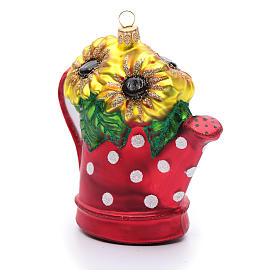 Annaffiatoio con girasoli decoro vetro soffiato Albero Natale s2