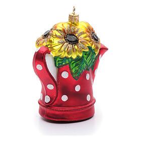Annaffiatoio con girasoli decoro vetro soffiato Albero Natale s4