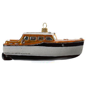 Blown glass Christmas ornament, yacht s1