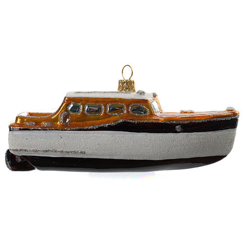Blown glass Christmas ornament, yacht 1