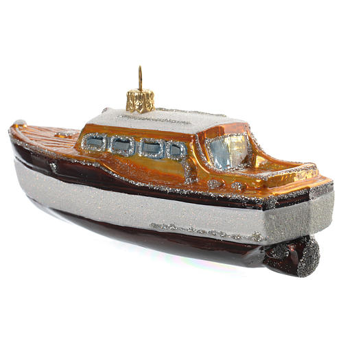 Blown glass Christmas ornament, yacht 3