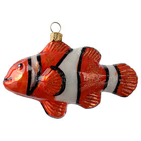 Blown glass Christmas ornament, clownfish s1