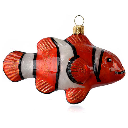 Blown glass Christmas ornament, clownfish 2