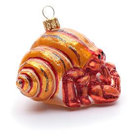 Blown glass Christmas ornament, hermit crab s4