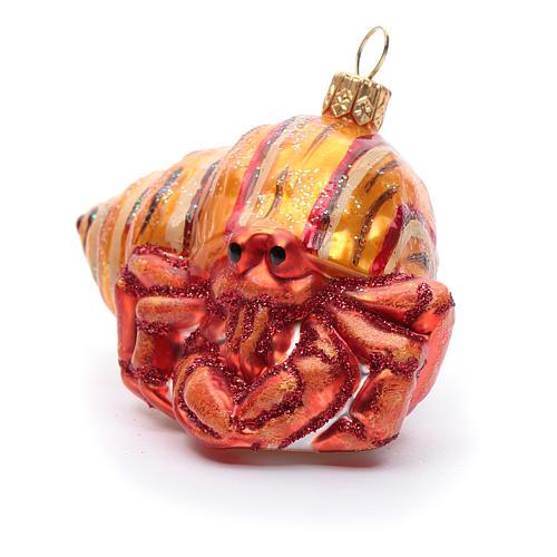 Blown glass Christmas ornament, hermit crab 2