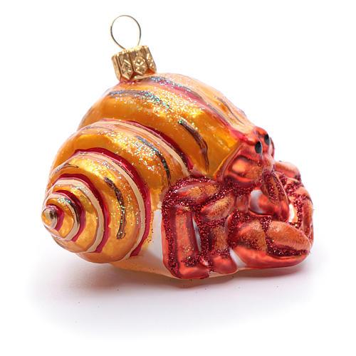 Blown glass Christmas ornament, hermit crab 4