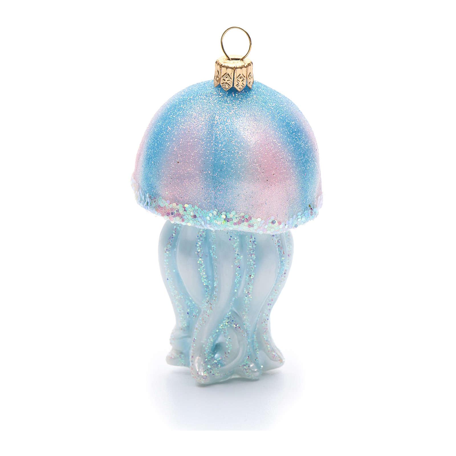 Décoration sapin Noël verre soufflé méduse 4