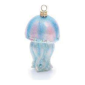 Décoration sapin Noël verre soufflé méduse s4