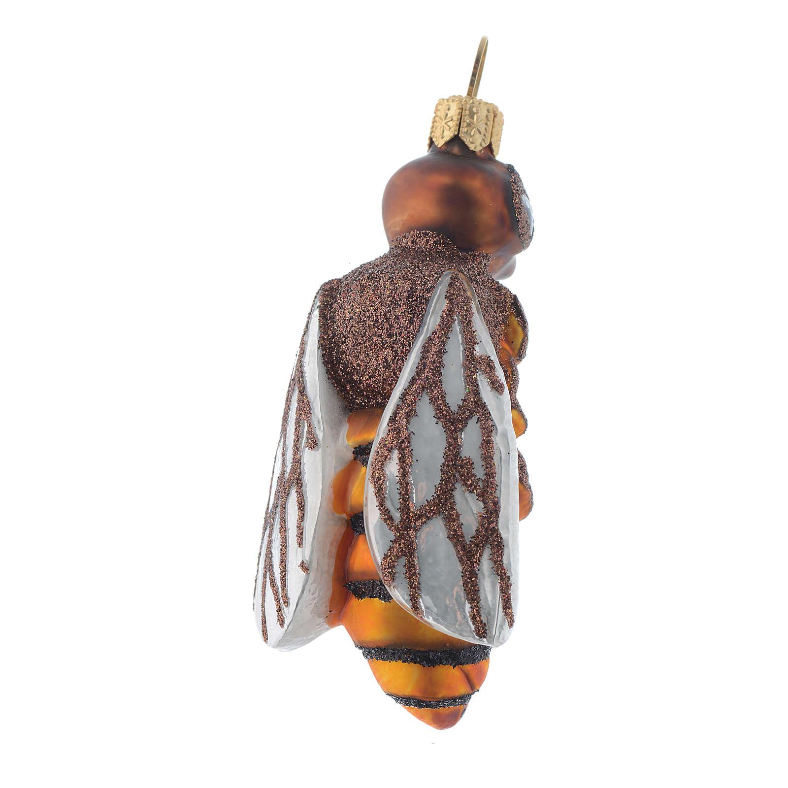 Décoration sapin Noël verre soufflé abeille 4