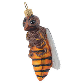 Blown glass Christmas ornament, bee s1