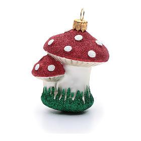 Décoration sapin Noël verre soufflé champignons s1
