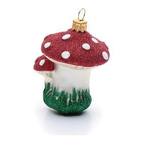 Décoration sapin Noël verre soufflé champignons s2