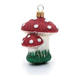 Décoration sapin Noël verre soufflé champignons s4