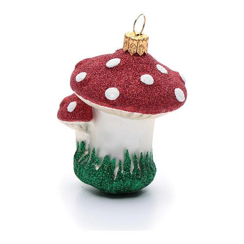Décoration sapin Noël verre soufflé champignons 2