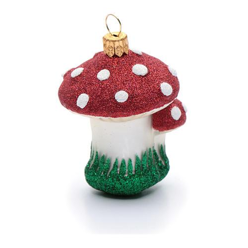 Décoration sapin Noël verre soufflé champignons 3