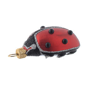 Blown glass Christmas ornament, ladybug s3
