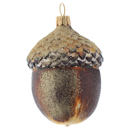 Blown glass Christmas ornament, acorn 1