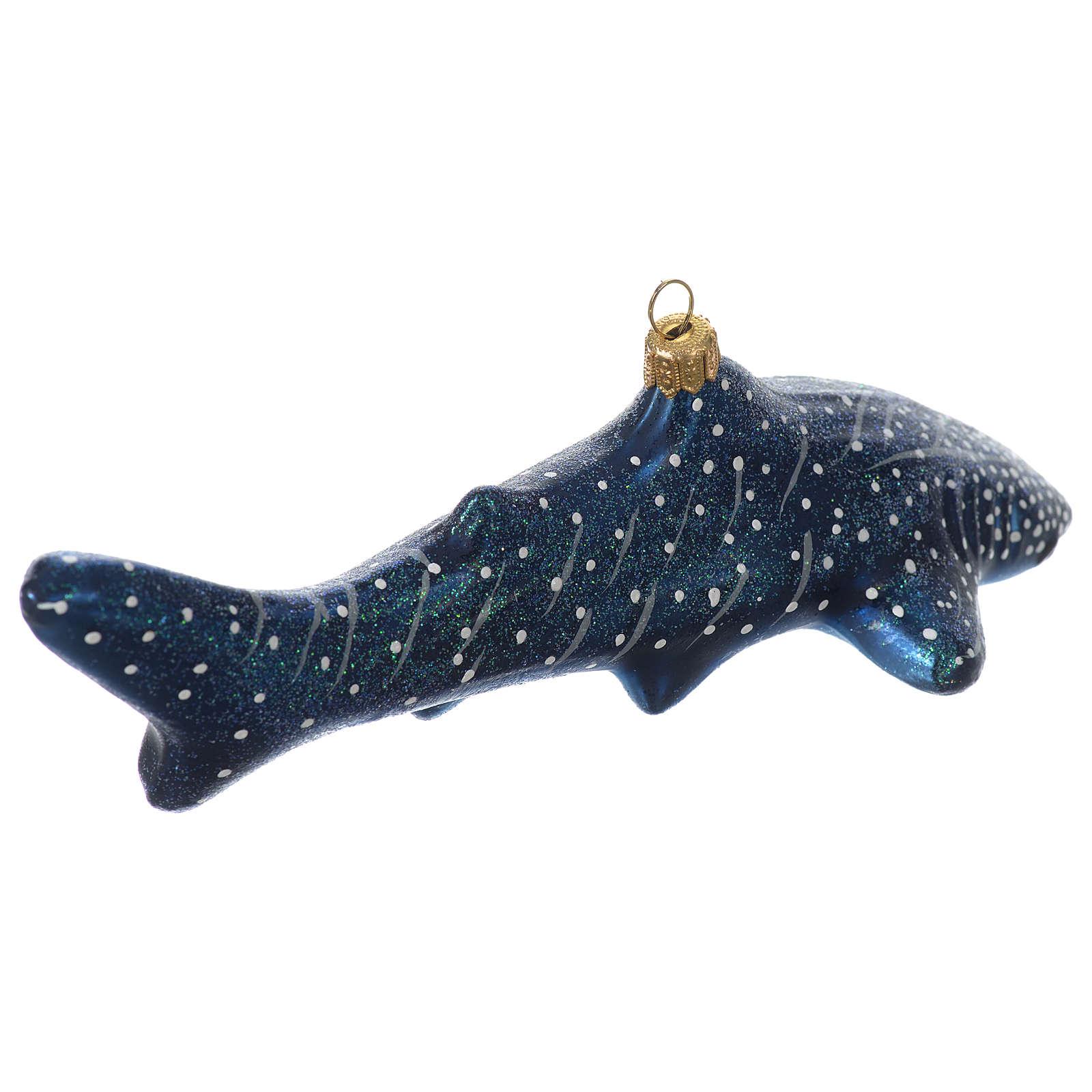 Décoration pour sapin Noël verre soufflé requin-balaine 4