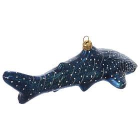 Décoration pour sapin Noël verre soufflé requin-balaine s3